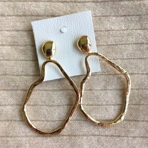 New Free People Hammered Golden Loop Stud Earrings